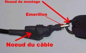 """Noeuds de montage """"A l'ancienne"""" du câble avec l'émerillon et le rail saver"""